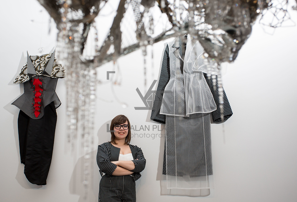 18.05.2018.          <br /> More than 500 people attended the flagship event of the inaugural Unwrap LSAD Fashion Festival in Limerick.<br /> <br /> Graduate Louise Marchand is pictured with her collection, Dissasociate.<br /> <br /> The Limerick School of Art &amp; Design, LIT, Fashion Design Graduate Exhibition and launch of the &ldquo;The Fashion Film&rdquo; at Limerick City Gallery of Art, in partnership with EVA International, attracted hundreds of people from the world of fashion. <br /> <br /> A total of 27 fashion graduates presented their designs alongside the specially commissioned film by fashion stylist and creative director Kieran Kilgallon and videographer Albert Hooi. Picture: Alan Place