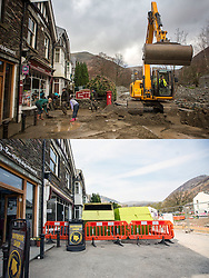© Licensed to London News Pictures. 11/05/2016. Glenridding UK. FIVE MONTH COMPARISON OF FLOODED VILLAGE OF GLENRIDDING. Top picture taken 10/12/2015 shows Glenridding village centre after it was flooded during storm Desmond in December. Bottom picture taken 10/05/2016 shows Glenridding village centre five months on from storm Desmond. The diggers are still in the village of Glenridding five months after storm Desmond hit the area & flooded the village three times last December. Residents of the village have become frustrated at the Environment Agency after it took almost four months for the agency to start work on new flood defences leaving the village looking like a building site during the normally busy tourist period essential to get the area back on it's feet. Photo credit: Andrew McCaren/LNP