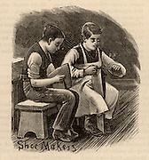 London Home for Boys, Stepney Causeway. Home for 300 waifs and strays from the London streets, the boys were taught trades from tailoring and boot making to carpentry. Boys in the boot making workshop where boots worn in the home were made, as well as those to fulfil outside orders which brought in funds for the home. Wood engraving 1883.
