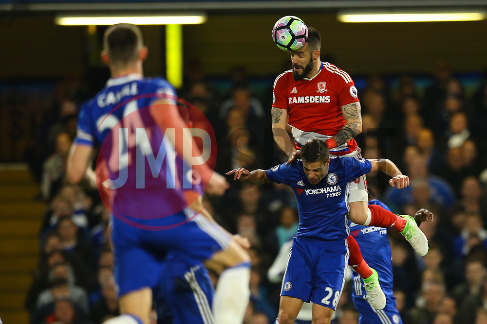 Alvaro Negredo of Middlesbrough jumps above Cesar Azpilicueta of Chelsea to head the ball - Mandatory by-line: Jason Brown/JMP - 08/05/17 - FOOTBALL - Stamford Bridge - London, England - Chelsea v Middlesbrough - Premier League