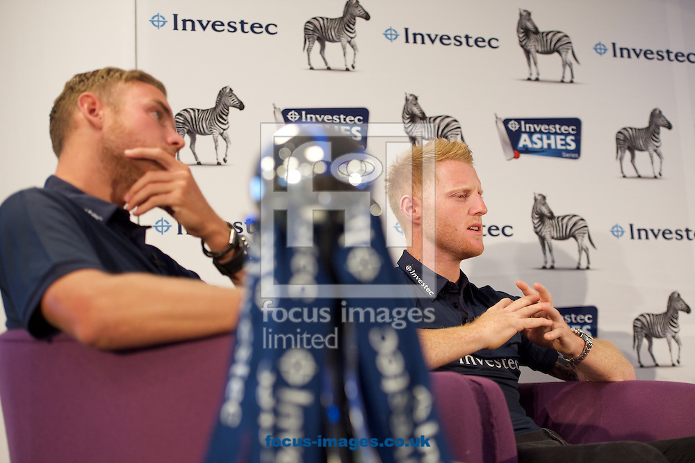 England cricketer Stuart Broad (left) and England cricketer Ben Stokes during the Investec Ashes Press Conference at Investec Bank, City of London<br /> Picture by Alan Stanford/Focus Images Ltd +44 7915 056117<br /> 02/07/2015
