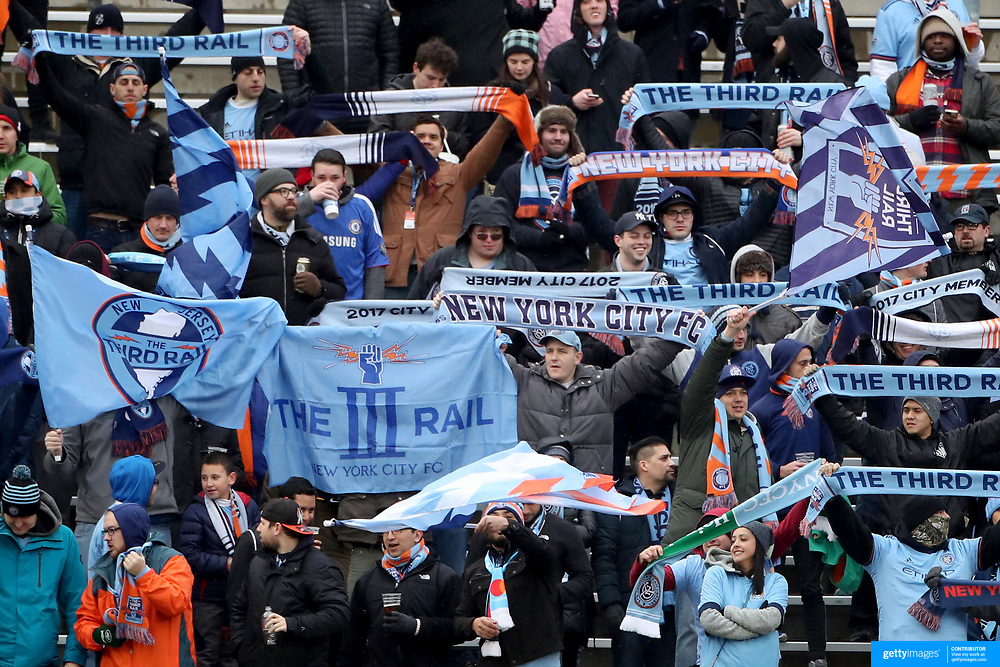 NEW YORK, NEW YORK - March 18: New York City Fc fans in action during the New York City FC Vs Montreal Impact regular season MLS game at Yankee Stadium on March 18, 2017 in New York City. (Photo by Tim Clayton/Corbis via Getty Images)