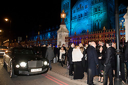 © Licensed to London News Pictures. 07/02/2018. London, UK. Guests are forced to queue for long periods in the cold as they arrive at the Natural History Museum in London for the annual Black and White Ball, a fundraiser held by the Conservative Party. Photo credit: Ben Cawthra/LNP