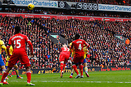 Martin Skrte of Liverpool scores his second goal of the game to make it 2-0 during the Barclays Premier League match at Anfield, Liverpool<br /> Picture by David Horn/Focus Images Ltd +44 7545 970036<br /> 08/02/2014