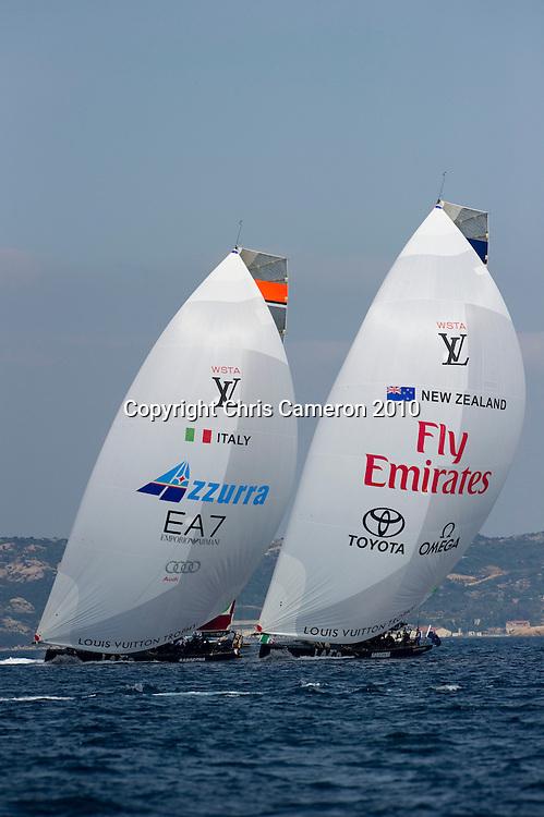 Emirates Team New Zealand lead Azzurra (ITA) to the finish. Day six of the Louis Vuitton Trophy. La Maddalena, Sardinia, Italy. 27/5/2010