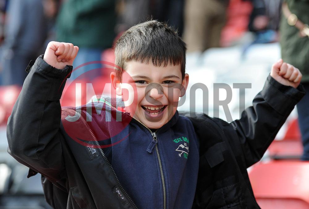 A Bristol Rugby fan cheers - Photo mandatory by-line: Dougie Allward/JMP - Mobile: 07966 386802 - 29/03/2015 - SPORT - Rugby - Bristol - Ashton Gate - Bristol Rugby v Bedford Blues - Greene King IPA Championship