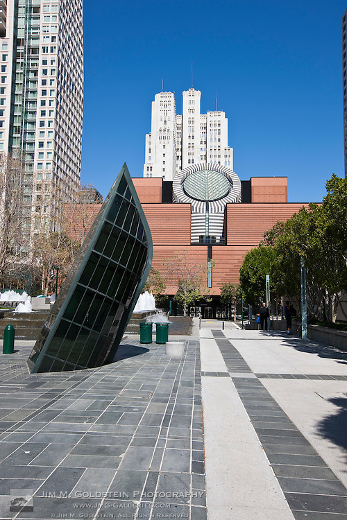 """Seasons of the Sea """"Adrift"""" by John Roloff at Yerba Buena Gardens with the iconic San Francisco MoMA exterior in the background"""