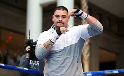 Andy Ruiz Jr during the public work-out at the Brookfield Place, New York.