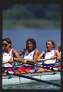 Banyoles, SPAIN, GBR W8+, left to right. Rachel HIRST, Kate GROSE and Sue SMITH, competing in the 1992 Olympic Regatta, Lake Banyoles, Barcelona, SPAIN. 92 Gold Medalist.   [Mandatory Credit: Peter Spurrier: Intersport Images]