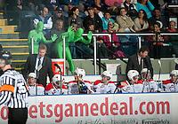 KELOWNA, CANADA - OCTOBER 10: The Green Guys taunt the Spokane Chiefs' bench  as the Spokane Chiefs visit the Kelowna Rockets on October 10, 2012 at Prospera Place in Kelowna, British Columbia, Canada (Photo by Marissa Baecker/Shoot the Breeze) *** Local Caption ***