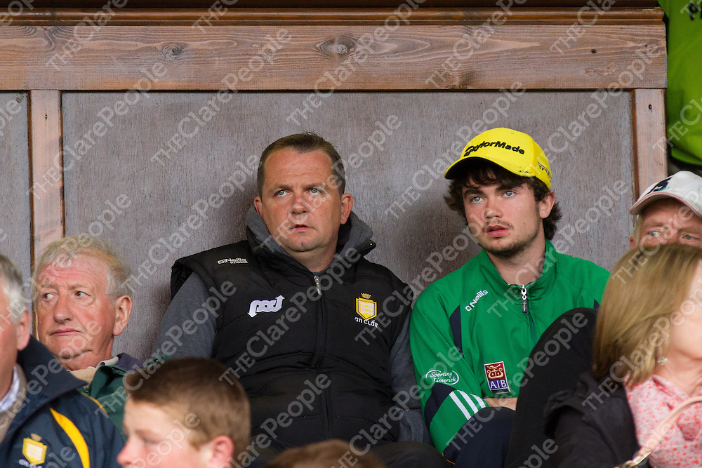 Clare Senior Hurling Manager Davy Fitzgerald with his son Colm, watching the Hurling matches at Cusack Park on Saturday