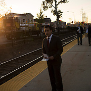 October 17, 2014 - Westwood, N.J. : Democrat Roy Cho, center, campaigns at the Westwood NJ Transit station on Friday morning. A candidate for Congress from NJ's 5th District, Cho is challenging Rep. Scott Garrett in the upcoming November elections. CREDIT: Karsten Moran for The New York Times