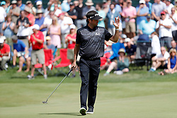 June 22, 2018 - Cromwell, CT, U.S. - CROMWELL, CT - JUNE 22: Bubba Watson of the United States thanks the crowd on 17 during the Second Round of the Travelers Championship on June 22, 2018, at TPC River Highlands in Cromwell, Connecticut. (Photo by Fred Kfoury III/Icon Sportswire) (Credit Image: © Fred Kfoury Iii/Icon SMI via ZUMA Press)