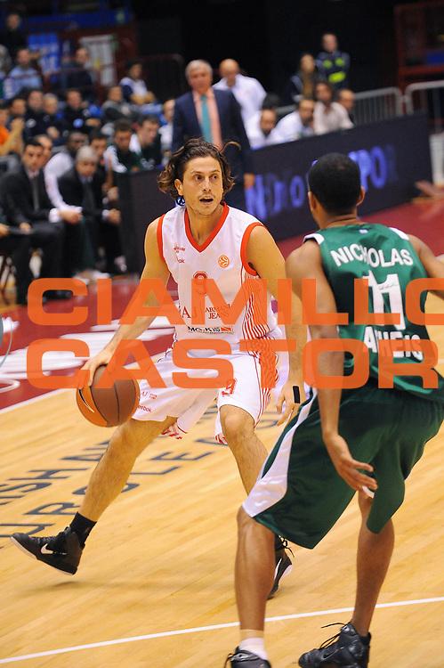 DESCRIZIONE : Milano Eurolega 2010-11 Armani Jeans Milano Panathinaikos Atene<br />GIOCATORE : Marco Mordente<br />SQUADRA : Armani Jeans Milano <br />EVENTO : Eurolega 2010-2011<br />GARA :  Armani Jeans Milano Panathinaikos Atene<br /> DATA : 18/11/2010<br />CATEGORIA : Palleggio<br />SPORT : Pallacanestro <br />AUTORE : Agenzia Ciamillo-Castoria/A.Dealberto<br />Galleria : Eurolega 2010-2011<br />Fotonotizia : Milano Eurolega Euroleague 2010-11 Armani Jeans Milano Panathinaikos Atene<br />Predefinita :