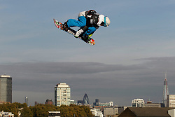© Licensed to London News Pictures. 28/10/2011, London, UK.  Britain's  Billy Morgan jumps during the Battle of Britain snowboard competition at the Freeze Snowboard and Ski Festival at Battersea Power Station in London, Friday, Oct. 28, 2011. Photo credit : Sang Tan/LNP