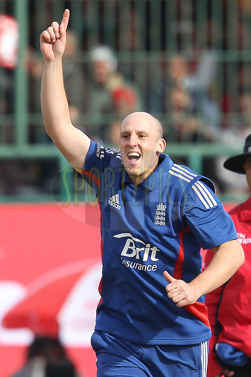 James Tredwell of England celebrates the wicket of Gautam Gambhir of India during the 5th Airtel ODI between India and England held at the HPCA Stadium in Dharamsala, Himachal Pradesh, India on the 27th January 2013..Photo by Ron Gaunt/BCCI/SPORTZPICS ..Use of this image is subject to the terms and conditions as outlined by the BCCI. These terms can be found by following this link:..http://www.sportzpics.co.za/image/I0000SoRagM2cIEc