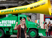 No fee for Repro: 17/06/2012 .Megan Reel pictured as Top bookie Paddy Power sent its record breaking Vuvuzela truck onto the streets of Dublin on Sunday morning to help rally Ireland fans once last time around the Boys in Green ahead of their final Euro 2012 match against Italy tomorrow night.  Ireland fans can show their support by following the Twitter conversation #HONKforVICTORY! Picture: Andres Poveda Sharppix
