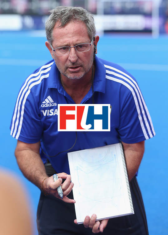 LONDON, ENGLAND - JUNE 19:  Argentina coach Gabriel Minadeo during the FIH Women's Hockey Champions Trophy match between USA and Argentina at Queen Elizabeth Olympic Park on June 19, 2016 in London, England.  (Photo by Alex Morton/Getty Images)