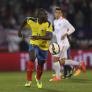 Segundo Castillo, Ecuador, in action during the USA Vs Ecuador International match at Rentschler Field, Hartford, Connecticut. USA. 10th October 2014. Photo Tim Clayton