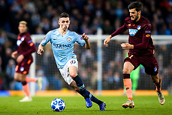 Phil Foden of Manchester City goes past Florian Grillitsch of Hoffenheim - Mandatory by-line: Robbie Stephenson/JMP - 12/12/2018 - FOOTBALL - Etihad Stadium - Manchester, England - Manchester City v Hoffenheim - UEFA Champions League Group stage