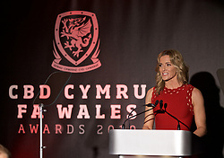 CARDIFF, WALES - Thursday, March 21, 2019: Gabby Logan presents during the Football Association of Wales Awards 2019 at the Hensol Castle. (Pic by David Rawcliffe/Propaganda)