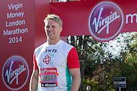 Lewis Moody in the celebrity area ahead of the Green Start at The Virgin Money London Marathon 2014 on Sundy 13 April 2014<br />