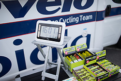 A large clock shows the time for the warming up riders before the start of the 42,5 km team time trial of the UCI Women's World Tour's 2016 Crescent Vårgårda women's road cycling race on August 19, 2016 in Vårgårda, Sweden. (Photo by Balint Hamvas/Velofocus)