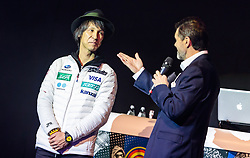 13.01.2018, Grimming Therme, Bad Mitterndorf, AUT, FIS Ski Flug Weltcup, Winnersparty, im Bild Noriaki Kasai (JPN), Hubert Neuper // Noriaki Kasai of Japan, Hubert Neuper during the Noriaki Kasai Tribute Party of the FIS Ski Flying World Cup at the Grimming Therme, Bad Mitterndorf, Austria on 2018/01/13, EXPA Pictures © 2018, PhotoCredit: EXPA/ JFK