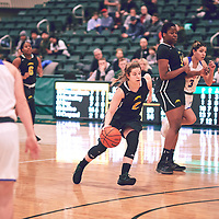 4th year guard, Michaela Kleisinger (2) of the Regina Cougars during the Women's Basketball Home Game on Fri Feb 15 at Centre for Kinesiology,Health and Sport. Credit: Arthur Ward/Arthur Images