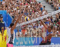 28.07.2016, Strandbad, Klagenfurt, AUT, FIVB World Tour, Beachvolleyball Major Series, Klagenfurt, Herren, im Bild Alexander Horst (2, AUT), Dmitri Barsouk (2, RUS) // during the FIVB World Tour Major Series Tournament at the Strandbad in Klagenfurt, Austria on 2016/07/28. EXPA Pictures © 2016, PhotoCredit: EXPA/ Gert Steinthaler