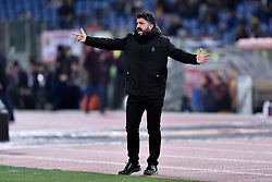 February 3, 2019 - Rome, Rome, Italy - Gennaro Gattuso manager of Milan during the Serie A match between Roma and AC Milan at Stadio Olimpico, Rome, Italy on 3 February 2019. (Credit Image: © Giuseppe Maffia/NurPhoto via ZUMA Press)