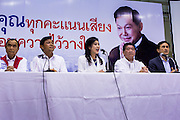 03 MARCH 2013 - BANGKOK, THAILAND: . PONGSAPAT PONGCHAREON, 2nd from left, the Pheu Thai candidate for Governor of Bangkok, and YINGLUCK SHINAWATRA, the Thai Prime Minister, and members of the Pheu Thai leadership at the press conference announcing that Pongsapat lost the Bangkok Governor's election. Pongsapat Pongchareon, running on the Pheu Thai ticket, lost the Bangkok's Governor's race to MR Sukhumbhand Paribatra, the incumbent running on the Democrat ticket. Sukhumbhand won the race after scoring a record number of votes, more than 1.2 million to Pongsapat's 1 million. The results were seen as an upset even though Sukhumbhand was the incumbent because all of the pre-election polls and the exit polls conducted on election day showed Patsapong winning.    PHOTO BY JACK KURTZ