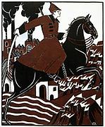 The New Horseman' , 1921. Watercolour. Nikolai Kogout (1891-1959) Russian artist. Soviet Propaganda Russia USSR  Communism Communist