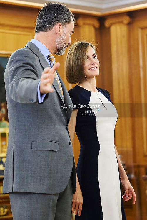 King Felipe VI of Spain and Queen Letizia of Spain attended an audience to a Alliance to Professional Education at Palacio de la Zarzuela on May 18, 2015 in Madrid