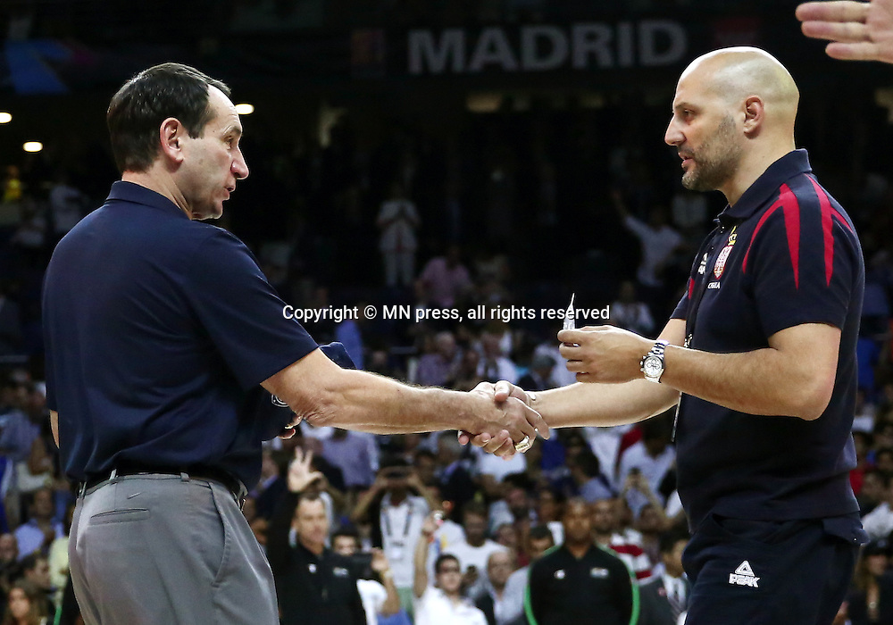 MIKE KRZYZEWSKI coach of United states of America basketball team in action during Final FIBA World cup match against ALEKSANDAR DJORDJEVIC coach of Serbia, Madrid, Spain Photo: MN PRESS PHOTO<br /> Basketball, Serbia, United states of America, Final, FIBA World cup Spain 2014