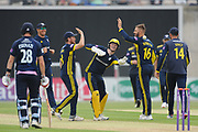 Aiden Markram and Hampshire celebrate the wicket of nick Gubbins during the Royal London One Day Cup match between Hampshire County Cricket Club and Middlesex County Cricket Club at the Ageas Bowl, Southampton, United Kingdom on 23 April 2019.