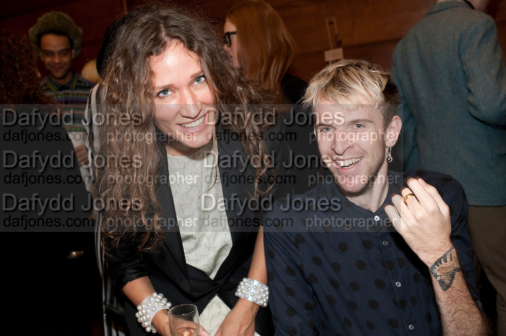 OLIVER HEMSLEY,; LULU KENNEDY ,  Art Against Knives charity auction , Town Hall Hotel in Bethnal Green, London. 15 December 2011