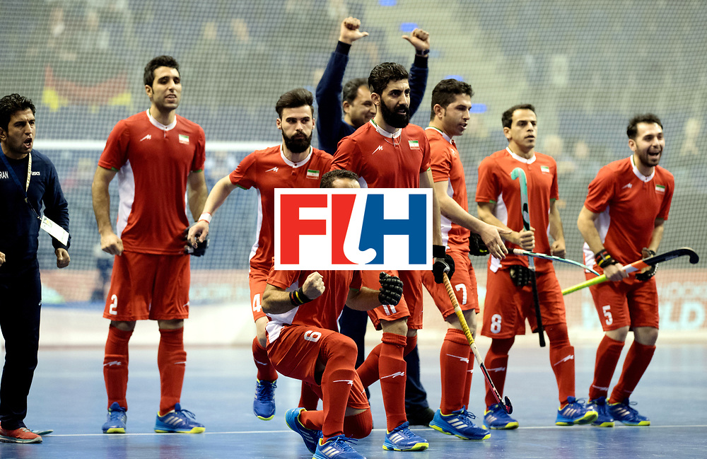 BERLIN - Indoor Hockey World Cup<br /> Quarterfinal 1: Iran - Czech Republic<br /> foto: Iran celebrating.<br /> WORLDSPORTPICS COPYRIGHT FRANK UIJLENBROEK