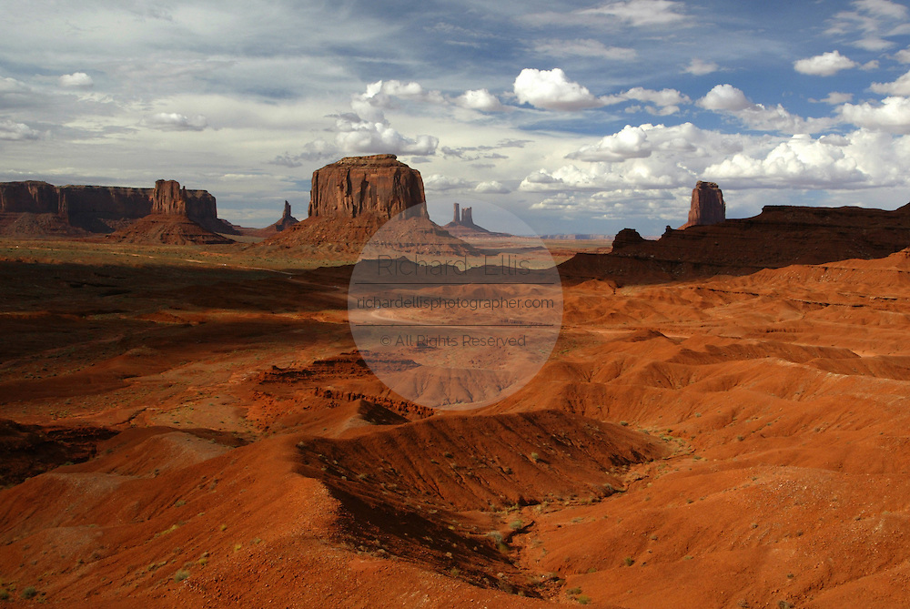 View of Merrick Butte from John Ford's Point in Monument Valley on the southern border of Utah with northern Arizona. The valley lies within the range of the Navajo Nation Reservation. The Navajo name for the valley is Tsé Bii' Ndzisgaii - Valley of the Rocks.