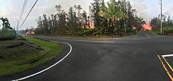 May 5, 2018 - Leilani Estates, Hawaii, U.S. - A panoramic view of fissure 7 from the intersection of Leilani and Makamae Streets in the Leilani Estates subdivision. This photo was taken at 06:01 a.m. HST today. Fresh volcanic eruptions on the southern end of the island of Hawaii after a series of tremors left residents displaced and frightened as the authorities evacuated the state's largest park on Friday and worked to keep people out of two subdivisions that had been evacuated. (Credit Image: © USGS/ZUMA Wire/ZUMAPRESS.com)
