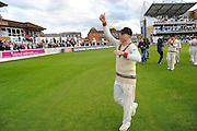 Chris Rogers of Somerset gives a thumbs up on the parade around the County Ground after his teams win over Nottinghamshire the Specsavers County Champ Div 1 match between Somerset County Cricket Club and Nottinghamshire County Cricket Club at the Cooper Associates County Ground, Taunton, United Kingdom on 22 September 2016. Photo by Graham Hunt.