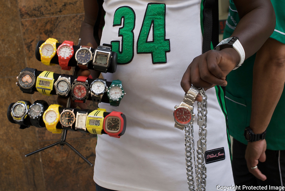 Pap&eacute; from Senegal sells watches and necklaces in the old centre of Sao Paulo.<br />