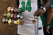 Papé from Senegal sells watches and necklaces in the old centre of Sao Paulo.<br />