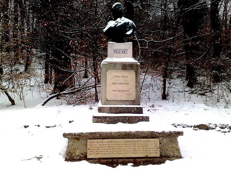 Mozart family grave Salzburg Austria in Winter