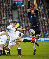 EDINBURGH, SCOTLAND - FEBRUARY 24:  England scrum half, Danny Care clears upfield at BT Murrayfield on February 24, 2018 in Edinburgh, Scotland. (Photo by MB Media/Getty Images)