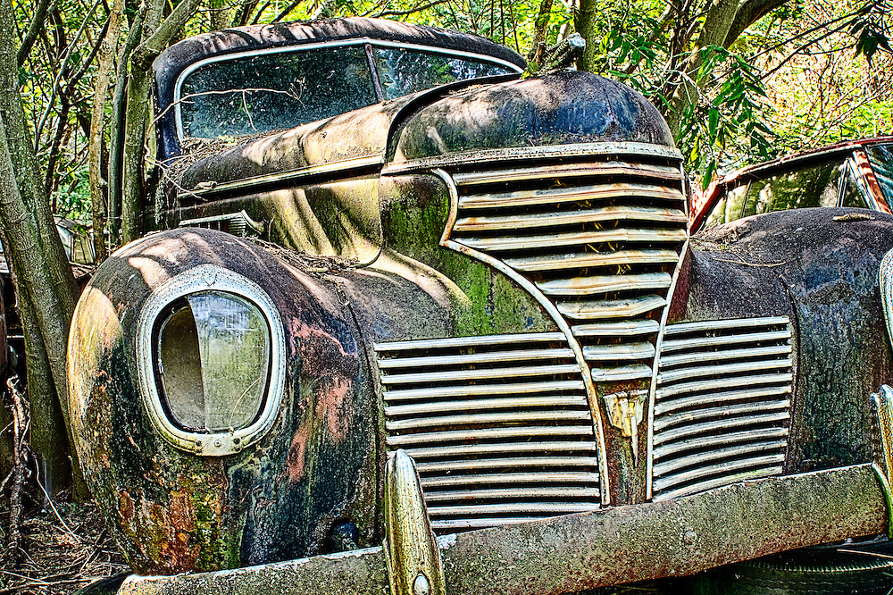 The front end of an old, rusting car sits in the Old Car City junkyard in Georgia.