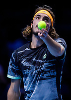 Tennis - 2019 Nitto ATP Finals at The O2 - Day Seven<br /> <br /> Semi Finals: Stefanos Tsitsipas (Greece) Vs. Roger Federer (Switzerland) <br /> <br /> Stefanos Tsitsipas (Greece) serves<br /> <br /> COLORSPORT/DANIEL BEARHAM<br /> <br /> COLORSPORT/DANIEL BEARHAM