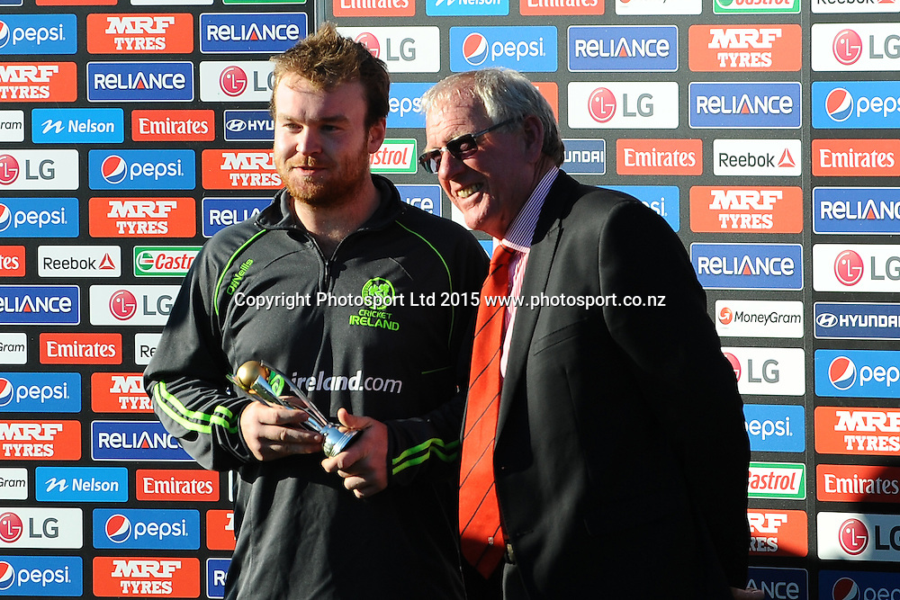 On the Left Ireland player Paul Stirling is man of the match during the 2015 ICC Cricket World Cup match between West Indies and Ireland. Saxton Oval, Nelson, New Zealand. Monday 16 February 2015. Copyright Photo: Chris Symes / www.photosport.co.nz
