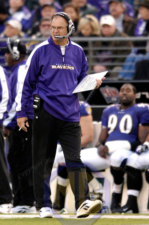 11 November 2007:  Baltimore Ravens head coach Brian Billick paces the sidelines during the game against the Cincinnati Bengals in the 1st quarter on November 11, 2007 at M&T Bank Stadium in Baltimore, Maryland. The Bengals defeated the Ravens 21-7 on the strength of 7 field goals..