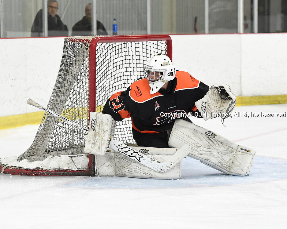 ORANGEVILLE, ON  - NOV 3,  2017: Ontario Junior Hockey League game between the Orangeville Flyers and the Georgetown Raiders, Brendon Landry #21 of the Orangeville Flyers follows the play during the first period. <br /> (Photo by Andy Corneau / OJHL Images)